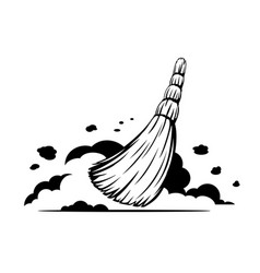 Small broom sweep floor black and white vector