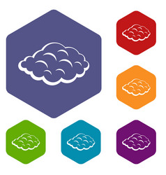 Small cloud icons set hexagon vector