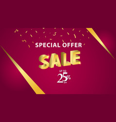 Special offer sale up to 25 off template design vector