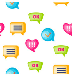 speech bubble icon set seamless pattern vector image