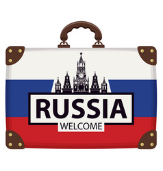 Suitcase with russian flag and the kremlin vector