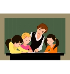 Teacher and pupils in the classroom vector