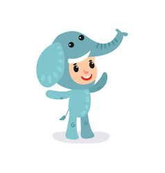 Toddler child in blue elephant jumpsuit little vector