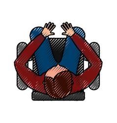 Top view man sitting cartoon vector