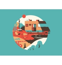 Trailer machine house vector