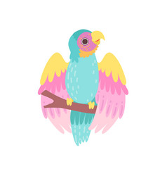 tropical parrot bird with iridescent plumage vector image