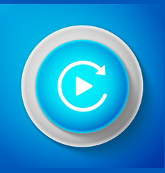 white video play button like simple replay icon vector image