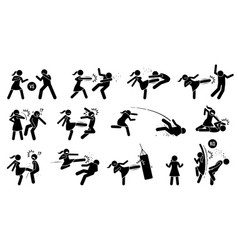 woman beating man stick figure sign and symbols vector image