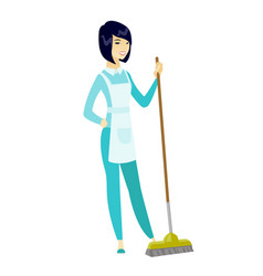 young housemaid sweeping floor with a broom vector image