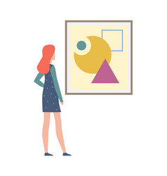 young woman looking abstract painting female vector image