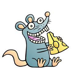 cute mouse found a piece of cheese and happy vector image vector image