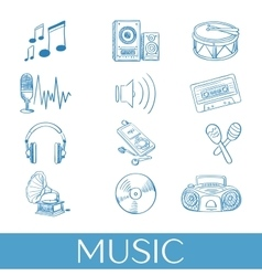 Hand drawn music icons set vector image vector image