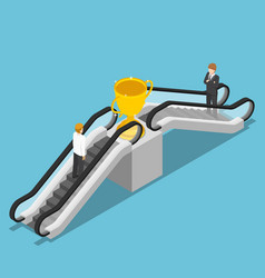 isometric businessman use an escalator to reach vector image vector image