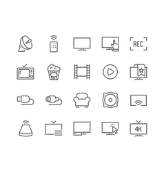 Line TV Icons vector image vector image
