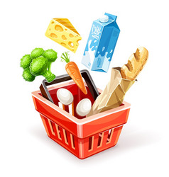 shopping basket with organic vector image