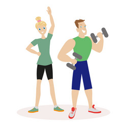 sport people man and woman engaged in fitness or vector image vector image