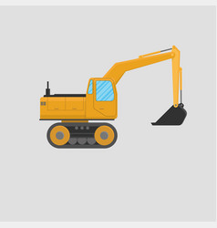 yellow excavator on white background vector image