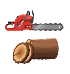 axeman saw and stump isolated on white background vector image vector image
