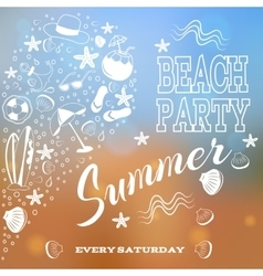 Beach party White letters and symbols vector image vector image
