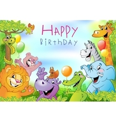 Cartoon animals Birthday greeting card vector image