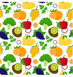 Cartoon food with vitamin c background pattern vector