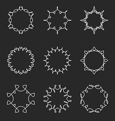Collection monogram round frame set mockup design vector image