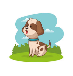 cute doggy animal baby with landscape vector image