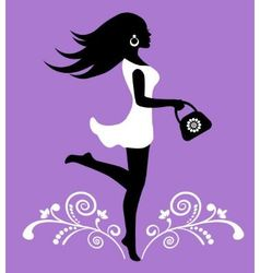 elegant female silhouette and ornate pattern with vector image vector image