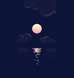 landscape moon sea and clouds flat vector image