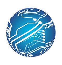 microchip circuit sphere vector image vector image