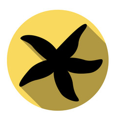 sea star sign flat black icon with flat vector image vector image