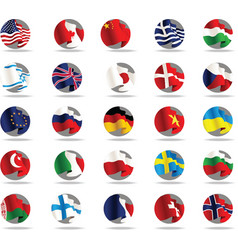 set of world flags icons vector image