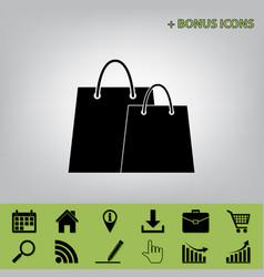 shopping bags sign black icon at gray vector image vector image