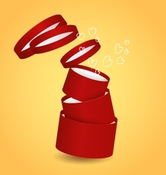 Three isolated round red decorative gift box with vector image