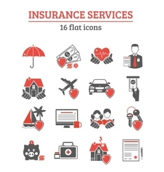 Insurance Services Icons Set vector image