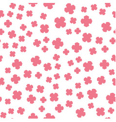 pink flowers print on white vector image vector image