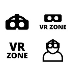 set of flat vr icons vector image
