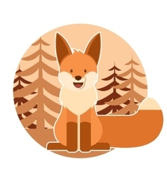Fox in the forest vector