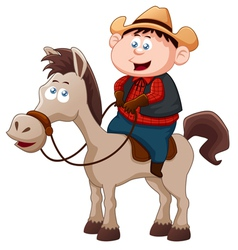 Little Cowboy riding horse vector image vector image