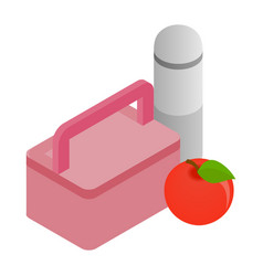 Pink lunch box red apple and thermos icon vector image