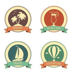 Summertime retro badges set vector image