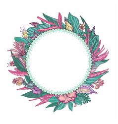 tropical floral frame vector image