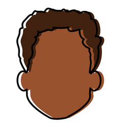 young black man head avatar character vector image