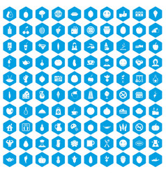 100 vegetarian cafe icons set blue vector