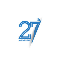 27 anniversary blue cut style isolated on white vector