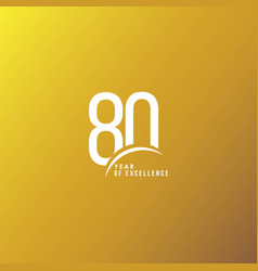 80 year excellence template design vector