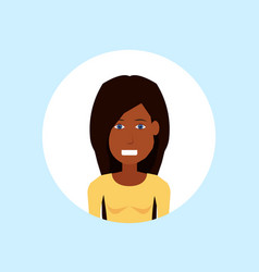 African american woman face happy lady portrait on vector