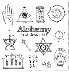 alchemy isolated hand drawn doodles set vector image
