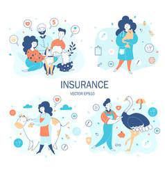 Animals life insurance flat set vector