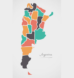 argentina map with states and modern round shapes vector image